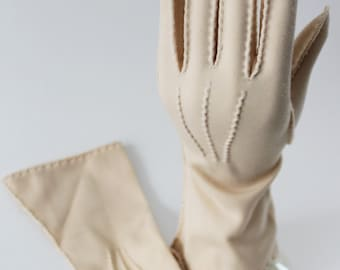 Vintage Cream Gloves by Geo Morgan, Size 6 1950s Formal Evening Nylon Outside Stitch
