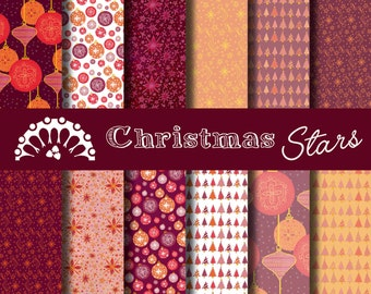 Digital paper Christmas stars