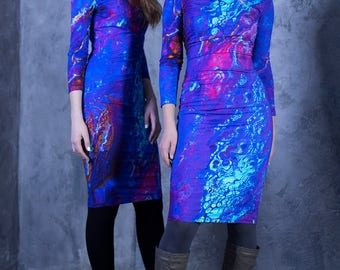 Blue Dress, Pencil Dress, Elegant Dress, Long Sleeve Dress, Bohemian Clothing, Trendy Plus Size, Oversized Dress, Office Dress,Stylish Dress