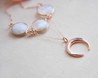 Moon Necklace, Crescent Moon Necklace, Rose Gold Moon, Rose Gold Necklace, Moonstone Necklace, Natural Stone, Moon Jewelry, Boho Jewelry