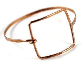 Copper Bangle Bracelet, Square copper bracelet , architectural jewelry, deco, Square Bracelet, Jewelry Victoria BC Vancouver Island Canada