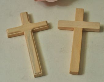 4pcs Large Wooden Cross Unfinished Natural Wood Cross Charms 89x50mm MT1192