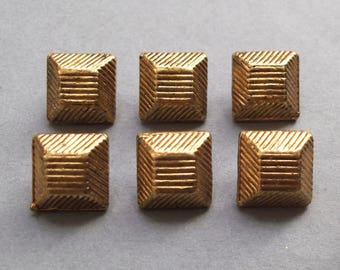 6 buttons vintage square metal gold antique gold 12 mm