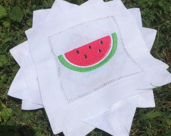 Watermelon Linen Cocktail Napkins - hostess gift - housewarming gift - summertime