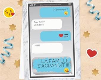 "Scratch announcement pregnancy ""growing family"" card, announcement message phone sms text smiley"