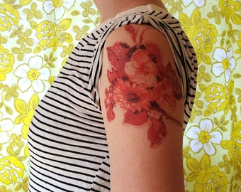 "Large Floral Temporary Tattoo // 5.5"" x 4.5"" // Flower Tattoo"