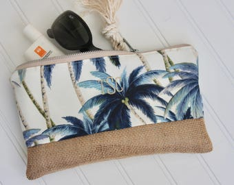 Palm Clutch Bridesmaid Gift Set - Bikini Bag - Personalized Clutch - Destination Wedding - Cosmetic Bag - Gift for Her - Mothers Day Gift