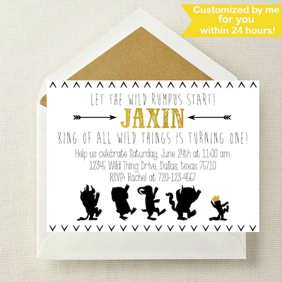 Where the Wild Things Are Invitation Wild Things Birthday