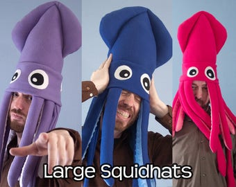 Large Plush Squid Hat Fleece Many Colors