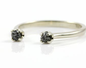 Open Design Ring with Rough Diamonds - 14K Gold Two Stone Ring - Dual Black Raw Diamonds