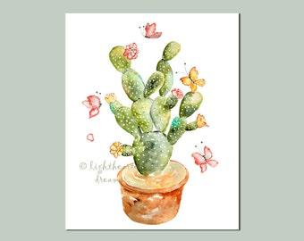 Green, cactus print, Southwestern Decor, cactus art, Watercolor Print of original cactus painting, butterfly painting, southwestern art
