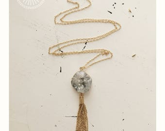 Quimby Necklace — druzy Quartz cluster, gold plated, metal chain golden tassel, boho long layer delicate wedding bridal feminine nashville