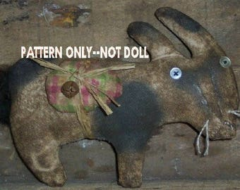 Rabbit epattern-NOT DoLL 213e Crows Roost Prims Primitive  Bunny  Easter Grazing epattern immediate download