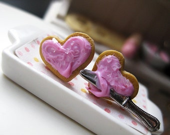 Valentine's Strawberry Heart Cookies Stud Earrings _ 1/12 Dollhouse Scale Miniature Food _ Polymer Clay _ Foodie Gift