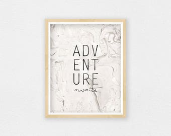 Adventure Awaits Sign, Marble Decor, Adventure Nursery Decor, Marble Print, Adventure Print, Adventure Wall Art, Adventure Quote Printable