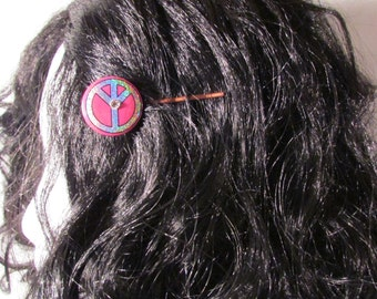 Pink Hair Pin Peace Sign Halogram Button Jewelry Copper Bobby Pin
