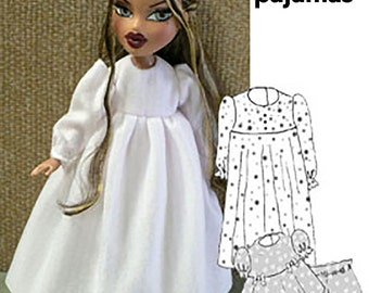 """Bratz doll clothes - sewing pattern for Moxie - Bratz simple patterns - Summer and Winter Pajamas Nightgown - 10"""" doll clothes PDF"""