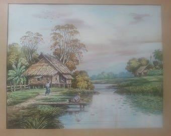 Muang LarBan watercolor painting
