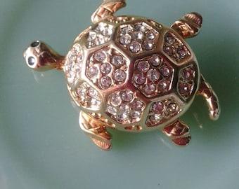 Vintage Monet Turtle Brooch,Pin,Turtle Jewelry,Rhinestone Turtle,Diamonds,Small Turtle,Monet