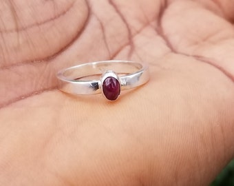 Ruby, Sapphire, 925 sterling silver ring