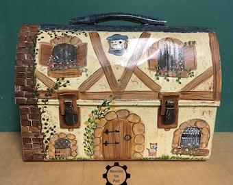 SALE! Hand Painted Vintage Metal Lunchbox