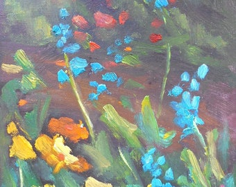"Wildflower Painting, Small Landscape,Floral Oil Painting, 6x8"" Flower Painting, Free Shipping in USA"