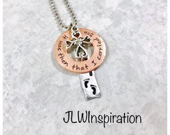 Footprints in the sand necklace, it was then that I carried you, gift, present, mom, grandma, sister, aunt, wife, daughter, religious, God