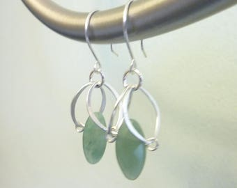 Metal Petal Earrings in Green Aventurine or Smoky Quartz, Gemstone Earrings, Sterling Silver, Marquise Shape, Healing Energy