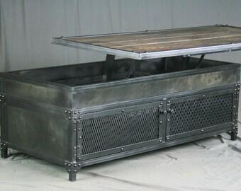 Lift Top Coffee Table. Adjustable Height Reclaimed Wood And Steel Coffee  Table. Handmade Coffee