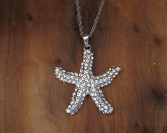 Silver Rhinestone Starfish Necklace - Silver Starfish Necklace - Starfish Necklace - Beach Jewelry