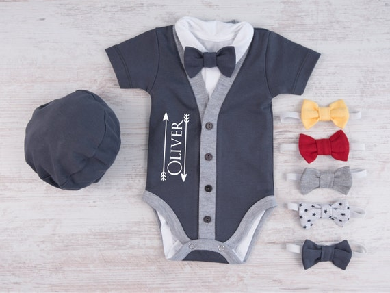 Engraved Baby Gifts Australia : Personalized baby boy gift graphite gray cardigan bodysuit
