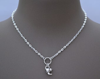 """TEAPOT O RING Necklace, Silver Plated Cable Chain, Handmade, 16"""" 18"""" 20"""" Sizes"""