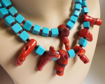 Vintage chunky turquoise cube and dyed branch coral necklace double strand beaded bold summer beach statement jewelry