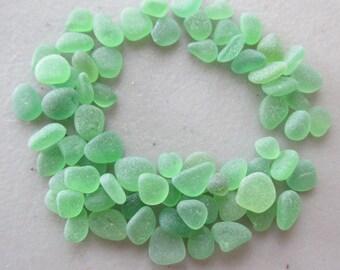 60 Tiny Green Seaglass Beads, Beach Glass Jewelry Supply Lot - Bulk Eco Friendly Genuine Beads Jewelry Supply