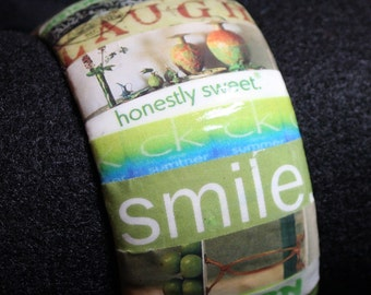 Green Bracelet  - Lime Bangle  Collage - Cuff - Decoupage - Wrapped - Words Medium