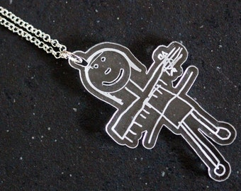 Create a customized perspex pendant from a child drawing, painting or collage