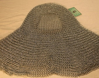 Large shouldered Chainmail Coif head armor 16G round butted Medieval LARP SCA Cosplay