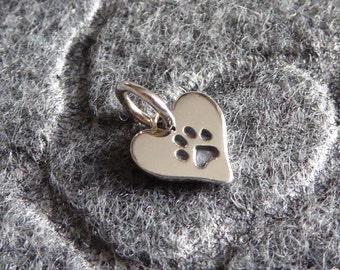 Sterling Silver Heart Pet Charm ~ Paw Print Charm