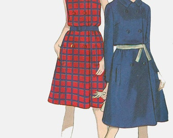 Vintage 60s MOD Double Breasted Coat Dress Sewing Pattern Vogue 7210 1960s Sewing Pattern Size 12 Bust 32