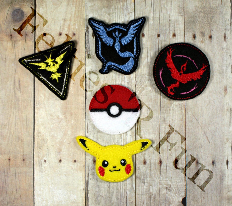 Pokemon Go Felties Embroidered Felt Applique Pokemon Teams # Muebles Pokemon