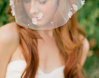 Bridal mini veil-mini veil-petal veil-tulle blusher veil-rhinestone veil-mini blusher veil- birdcage veil-style 110