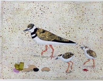 Wall Hanging Art Quilt Beach Walk Killdeer Family Mother and Two Chicks White Taupe Brown Black Neutral with Accents Red Starfish Purple Bud