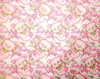 Vintage Wrapping Paper - New Baby Pink Bears Gift Wrap - Full Sheet - Carrington