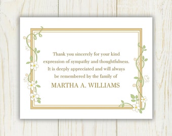 Flowers Funeral Thank You Card  Printable Digital file Sympathy note