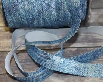 5/8 inch - BLUE DENIM / Blue Jean Like Print DiY FOE Fold Over Elastic for Headband per yard