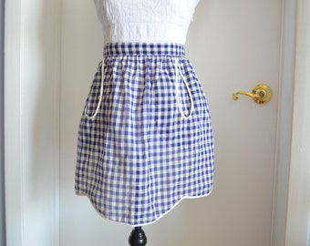 Blue Gingham Shabby Chic Vintage Cottage Mid Century I Love Lucy Half Waist Apron Hostess