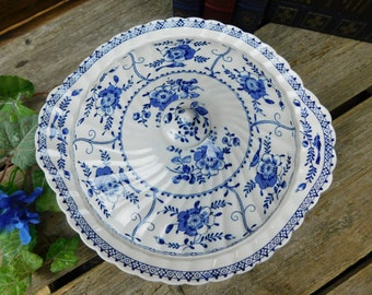 Vintage Johnson Brothers Indies Blue Covered Casserole