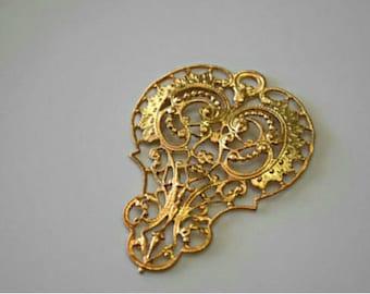 Vintage Gold Brass Carved Filigree Brass Vintage Filigree Findings Gold Brass Filigree Brass Jewelry Supplies (1pc) 45V10
