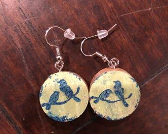 Boho wine cork earrings