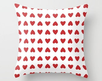 Hearts Pillow Cover - Red Hearts Pillow Cover - Valenitnes Day Decorative Pillow Cover - Home Decor - includes insert